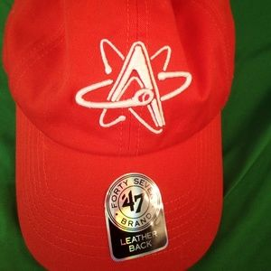 NWT 47 brand isotopes orange hat with leather back